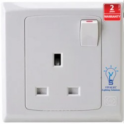 MK S2757 1G 13A Switched Socket Outlet (White Color)